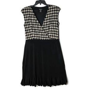 Houndstooth Black V-neck Dress